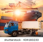 containers shipping and... | Shutterstock . vector #434183233