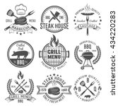 bbq graphic flat emblems with...