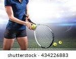 tennis player holding a racquet ... | Shutterstock . vector #434226883
