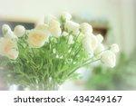 white roses in a glass vase ... | Shutterstock . vector #434249167