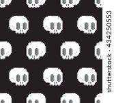 pixel art style game skull... | Shutterstock .eps vector #434250553