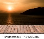 clear table on beautiful sunset ...   Shutterstock . vector #434280283