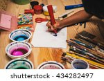 child drawing at painting... | Shutterstock . vector #434282497