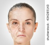 Small photo of Aging process, rejuvenation anti-aging skin procedures. Old and young concept