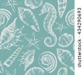 seamless pattern with seashells ... | Shutterstock .eps vector #434290693