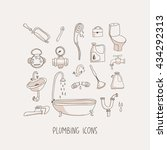 plumbing hand drawn vector... | Shutterstock .eps vector #434292313