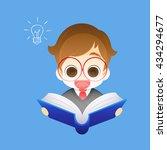 small boy has idea  boy coming... | Shutterstock .eps vector #434294677