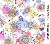 seamless pattern from flowers... | Shutterstock .eps vector #434305537