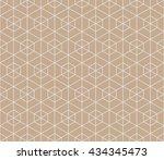 seamless beige hexagonal... | Shutterstock . vector #434345473
