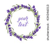 the lavender wreath with frame... | Shutterstock .eps vector #434346013