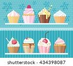 flat cupcakes vector set.   Shutterstock .eps vector #434398087