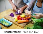 family cooking kitchen food... | Shutterstock . vector #434414167