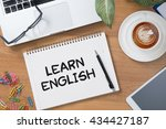 learn english tablet with blank ... | Shutterstock . vector #434427187