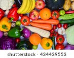 colorful fruits and vegetables... | Shutterstock . vector #434439553