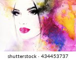beautiful woman face. abstract... | Shutterstock . vector #434453737