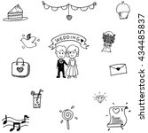 doodle vector art wedding party ... | Shutterstock .eps vector #434485837
