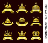 gold crowns and ribbon banner... | Shutterstock . vector #434495383