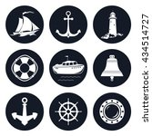 set of round marine icons  ... | Shutterstock .eps vector #434514727