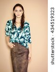 fashion model wearing brown... | Shutterstock . vector #434519323