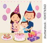 happy family celebrating baby... | Shutterstock .eps vector #434576563