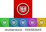 16 9 display vector icons set ... | Shutterstock .eps vector #434583643