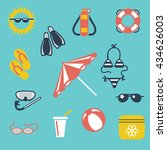 colorful summer flat icons ball ... | Shutterstock .eps vector #434626003