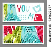 you love me. set of creative... | Shutterstock .eps vector #434633197