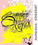 hand draw summer textured ink... | Shutterstock .eps vector #434635687