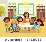 group of children and tutor... | Shutterstock .eps vector #434635783