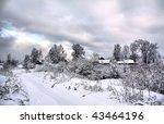 Village In Snow. Hdr