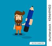 bearded man hold pencil | Shutterstock .eps vector #434649403