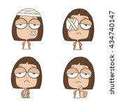 illustration cute girl several... | Shutterstock .eps vector #434740147