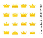 elegant golden crown icons set. ...   Shutterstock .eps vector #434779003