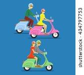 moped flat vector illustration. ... | Shutterstock .eps vector #434797753