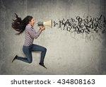 young woman shouting | Shutterstock . vector #434808163