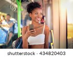 young girl on the bus messaging ... | Shutterstock . vector #434820403