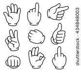 cartoon hands gesture set.... | Shutterstock . vector #434848003