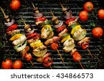 grilled vegetable and meat... | Shutterstock . vector #434866573