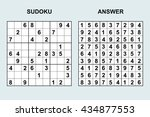 vector sudoku with answer.... | Shutterstock .eps vector #434877553