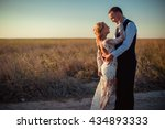 bride and groom on their... | Shutterstock . vector #434893333