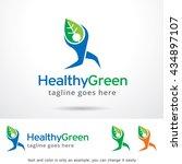 healthy green logo template... | Shutterstock .eps vector #434897107
