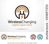 wireless charging logo template ... | Shutterstock .eps vector #434897353