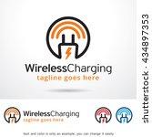 wireless charging logo template ...   Shutterstock .eps vector #434897353