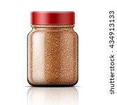 transparent glass jar with... | Shutterstock .eps vector #434913133