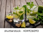 fresh mojito cocktail with lime ... | Shutterstock . vector #434926093