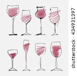 wine glass set   collection... | Shutterstock .eps vector #434931397