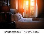bed maid up with clean white... | Shutterstock . vector #434934553