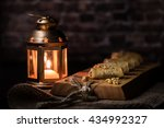 baklava rolls with candle holder | Shutterstock . vector #434992327