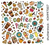 coffee vector set. line many... | Shutterstock .eps vector #434997007