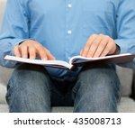 blind man reading braille book...   Shutterstock . vector #435008713
